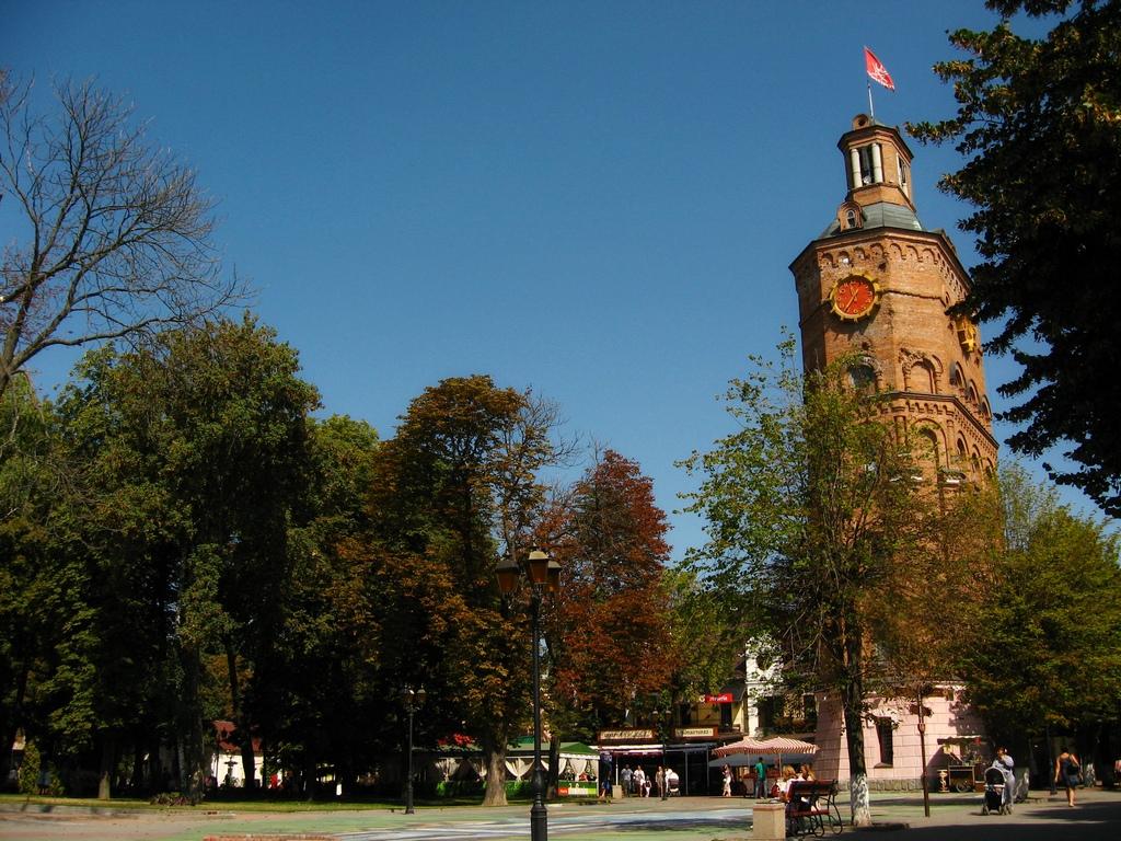 Велика башта годинника поруч з деревом
