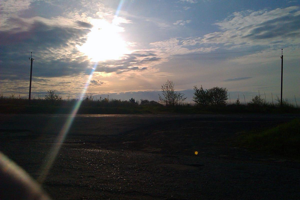 Вид на місто на заході сонця