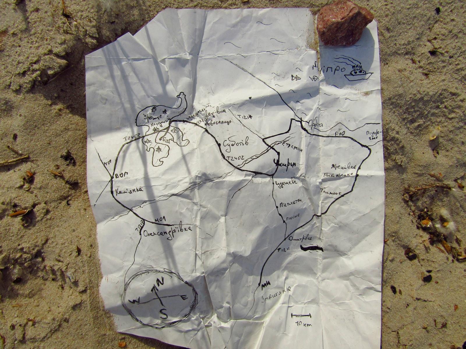 Карта місцевості. Чигирин, Суботів, Холодний Яр, Орбіта.