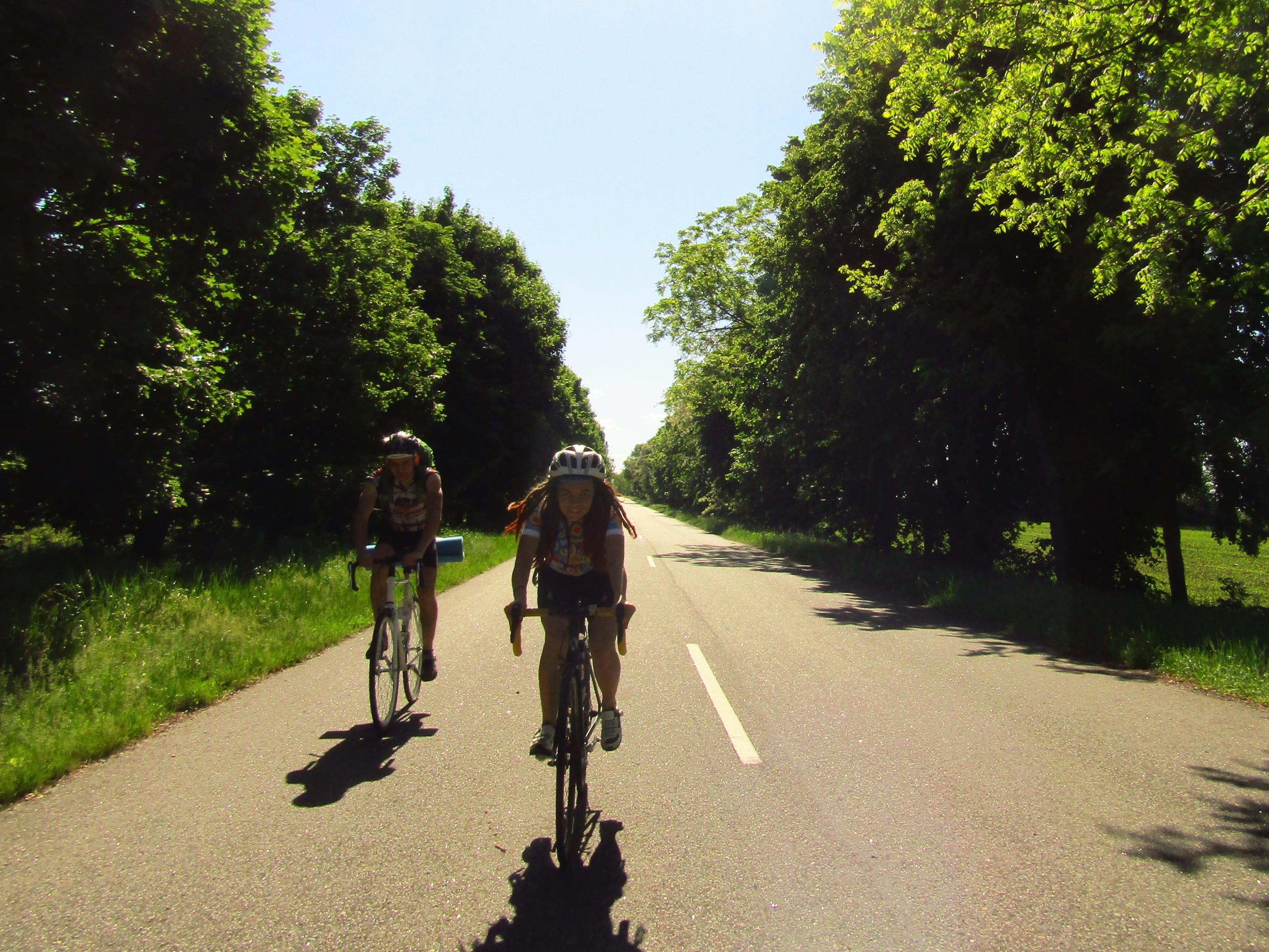 Чоловік їде на велосипеді по грунтовій дорозі