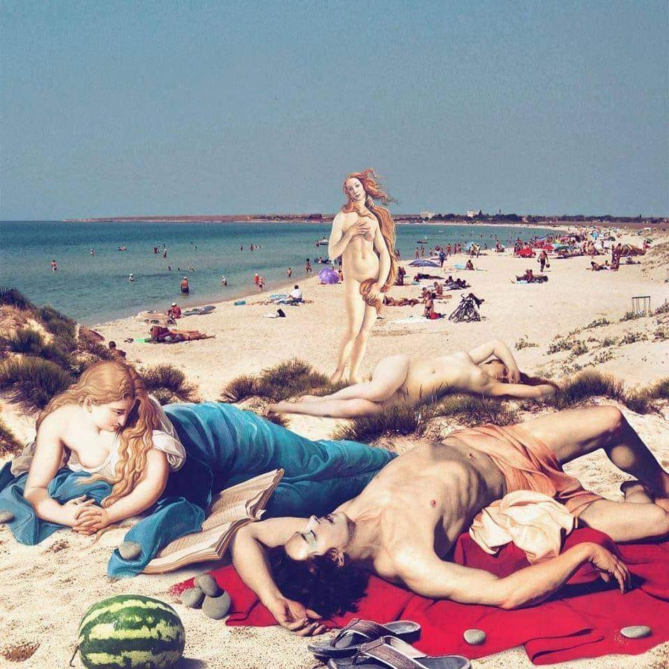 Група людей, що сидять на пляжі